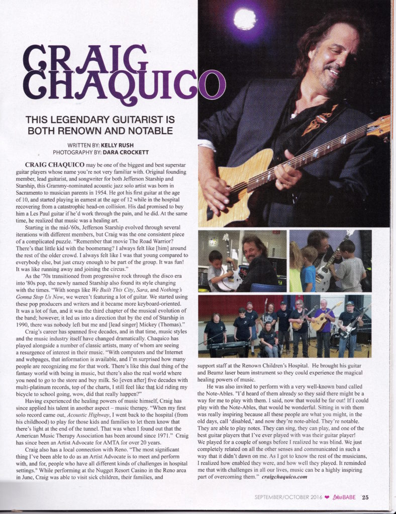 Craig Chaquico - Bliss Babe Mag Sept-Oct, 2016 Article