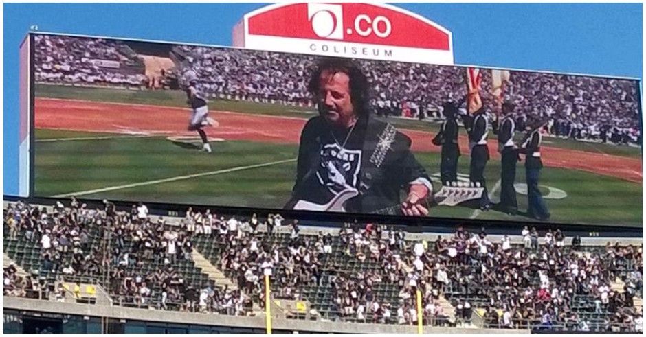 Craig on Jumbotron Oakland Raiders vs Ravens Anthem
