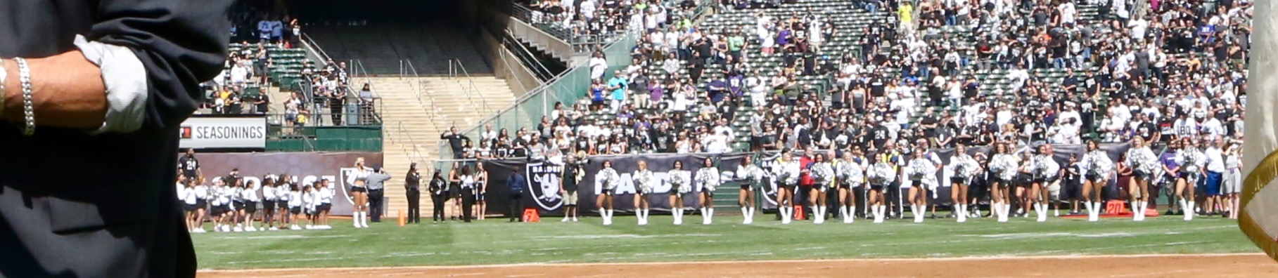 This is a photo of Craig Chiquico performing the National Anthem at The Oakland Raiders vs. Baltimore Ravens game, The Oakland Raiders won 37-33. The game was played at O.Co Coliseum in Oakland, California. September 22, 2015.