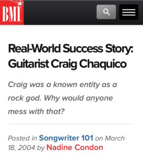 BMI Craig Chaquico article
